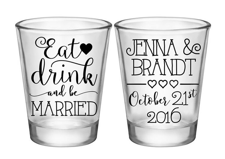 100x Customized Wedding Favors 2 Side Shot Glasses 175 O
