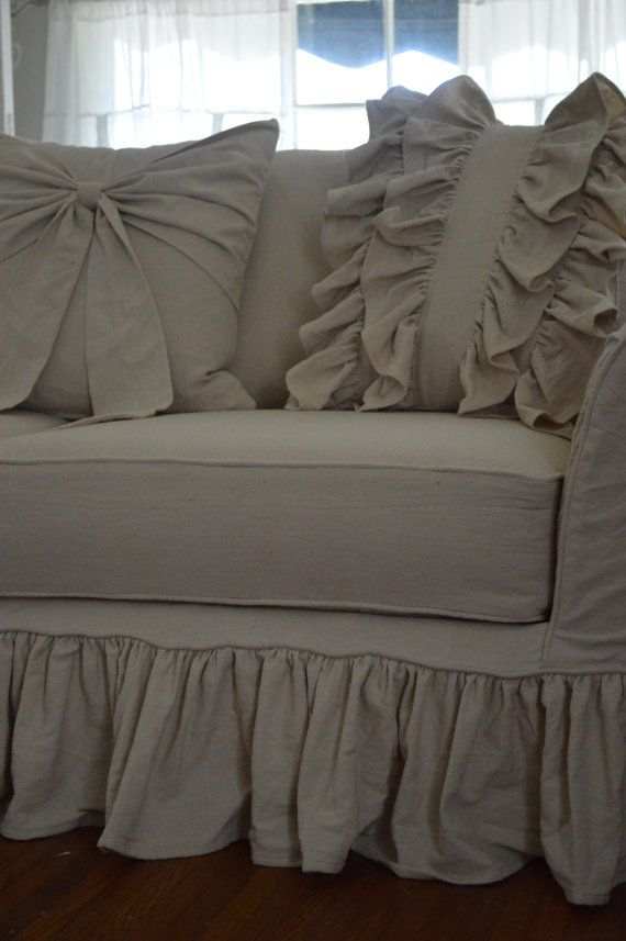 Drop cloth slipcover. Custom slipcover tailor by AlchemyFineLiving