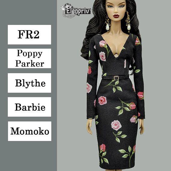 e3147bb90d ELENPRIV roses printed black chiffon dress with full lining and belt for Fashion  royalty FR2, Poppy Parker, Blythe, Barbie, Momoko dolls