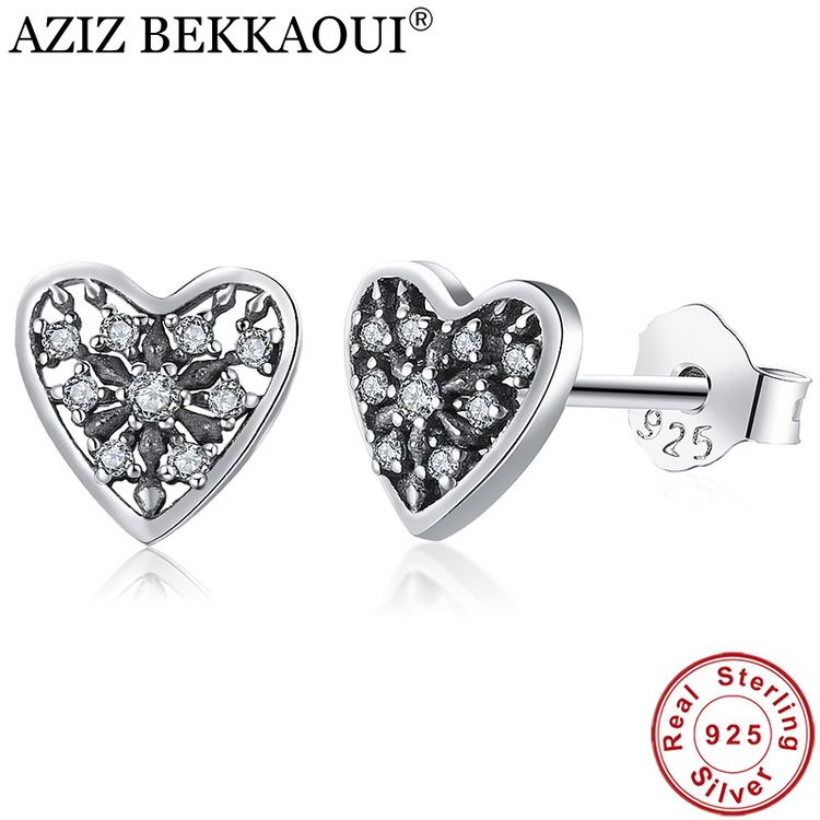 S925 Sterling Silver Vintage Black Heart Stud Earrings For Women Elegance Clear Cz Wedding Femme Brincos