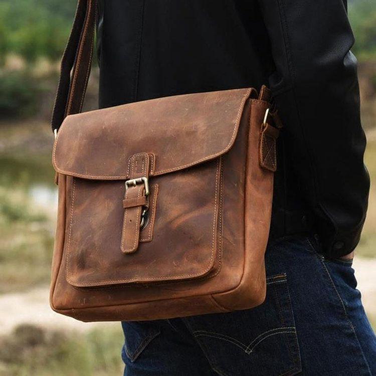 Handmade Leather Mens Cool Shoulder Bag Messenger Bag Chest Bag Bike B –  iwalletsmen 292240d0da