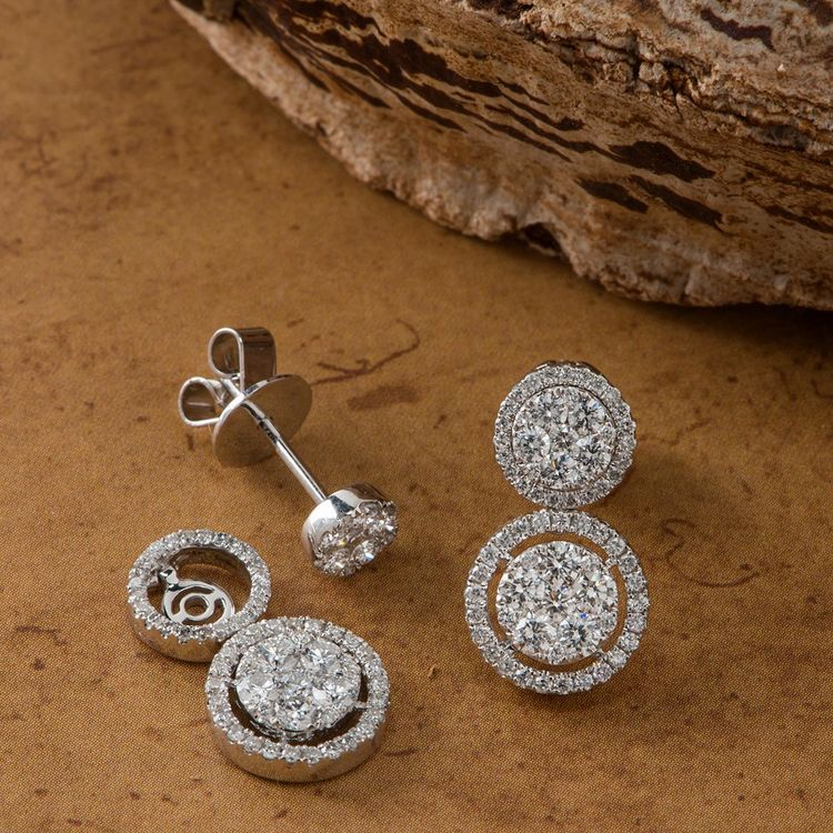Stand Out This Winter In Shimmering Diamond Multi Look Earrings Shaneco Shanecochic