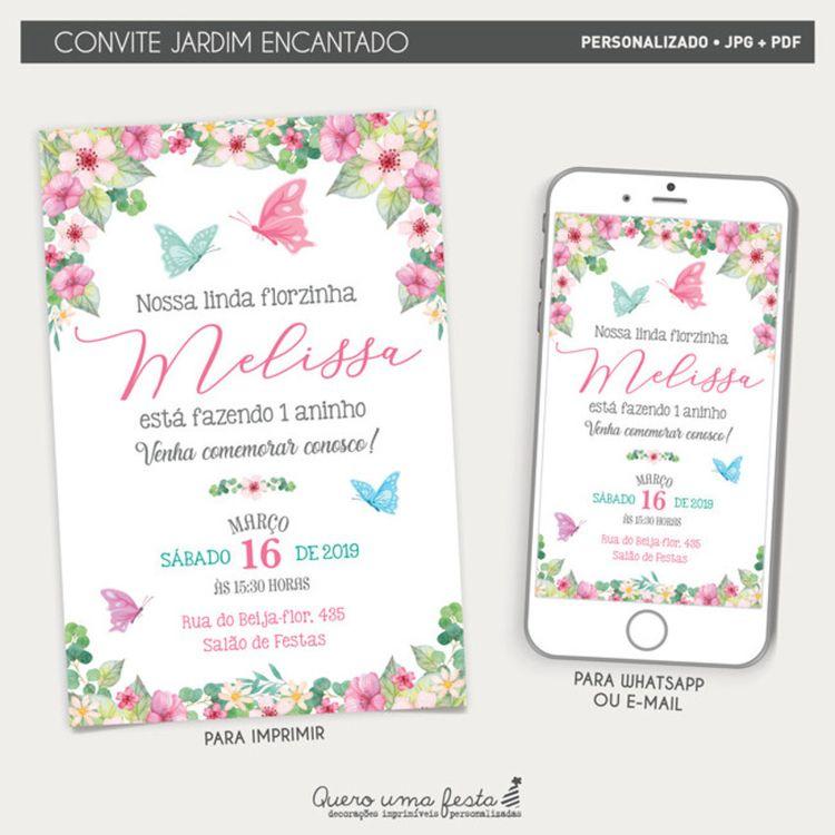 Convite Jardim Encantado Convite Jardim Das Borboletas
