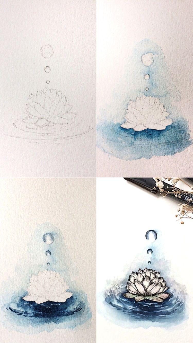 Half watercolor and half ink sketch of a lotus flower I drew for the inktober challenge #tutorial #art #artist #painting #paintingtutorial #paintingtips #artwork #watercolour #watercolor #painting #paintingart #processart #lotusflower #flower