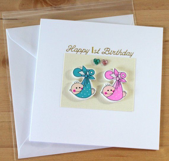 Babys Twin Boys Girls First 1st Birthday Card Gift Personalised Cards Wooden Christening