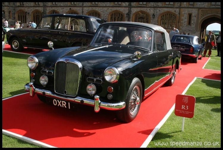 H.R.H. Prince Philip's Alvis TD21 Drophead Coupé. The bottom picture was taken at Windsor Castle. Prince Charles's Aston is behind and the Royal Phantom VI to the left. The Royals are credited with...