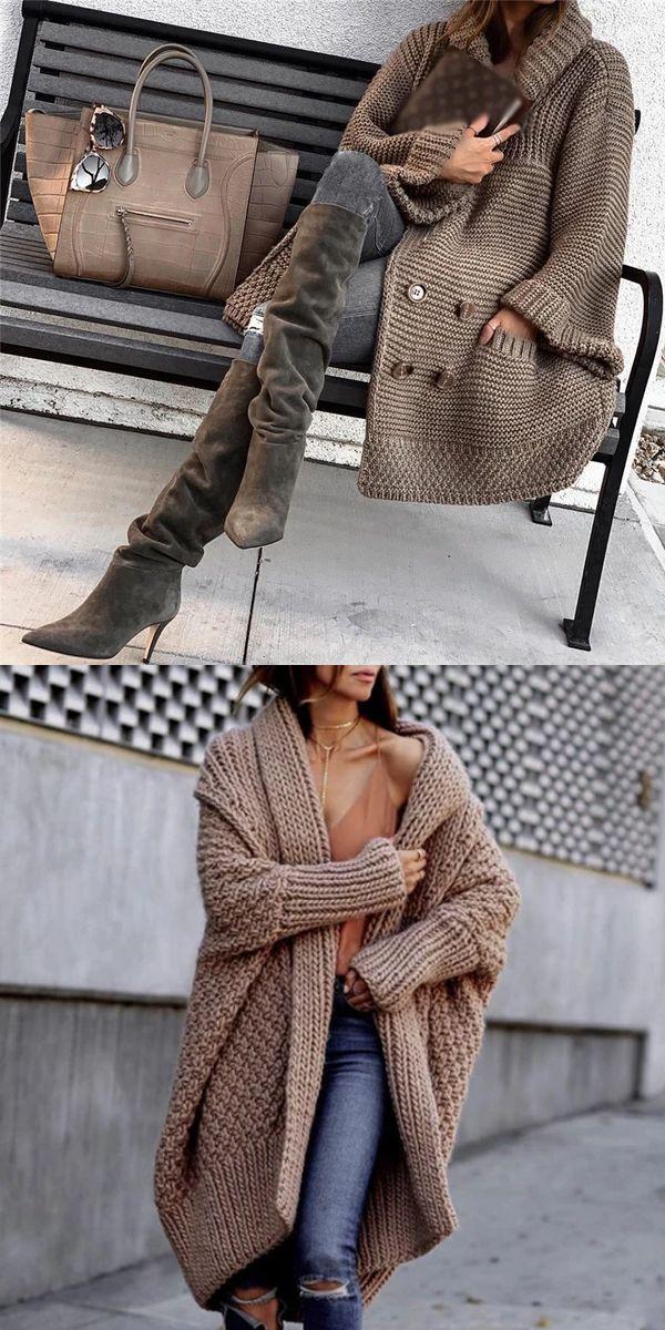 Loose Solid Color Knit Cardigan - #cardigan #Color #loose #solid
