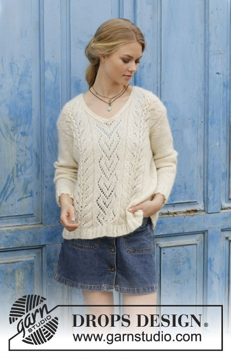 91e8755ec015 The Pearl Free Lace Sweater Knitting Pattern. The Pearl   DROPS ...