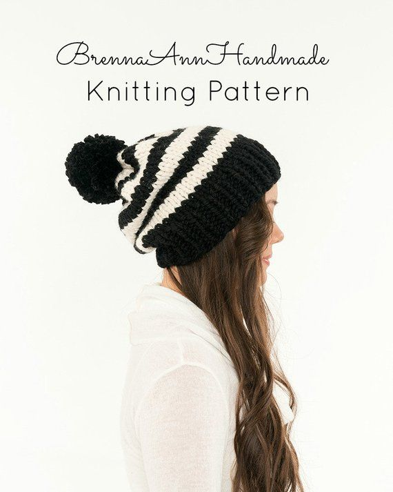 b4586bedb35 KNITTING PATTERN - Striped Slouchy Knit Pom Pom Hat Pattern