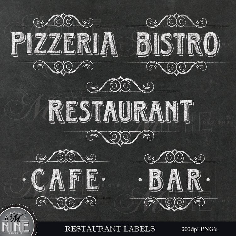 chalk restaurant labels clip art cafe clipart gold cli