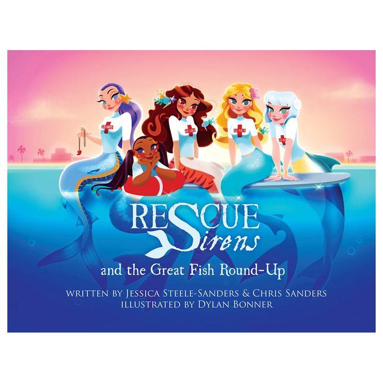 """Livro de bolso resistente a água """"Sirenes de resgate e o grande peixe Round-Up"""""""
