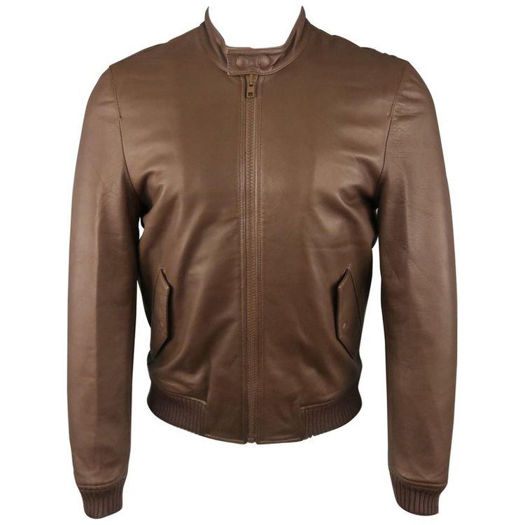 9d992d8e1 1stdibs Men Band Of Outsiders Leather Bomber Jacket, Brown Size S