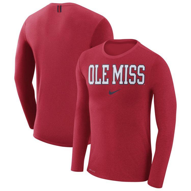 sports shoes a62f5 64045 Ole Miss Rebels Nike Marled Wordmark Long Sleeve Performance T-Shirt - Heathered  Red