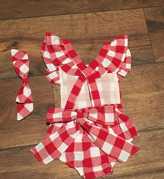 1df07f860a82 monogrammed baby girl romper - red and white checkered summer romper - 4th  of July Outfit - Fourth o