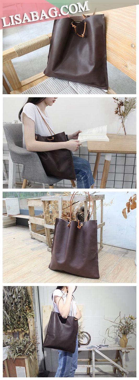26de78935246 Handmade Leather Designer Tote Handbag Shopper Bag Beach Bag SB04 - Coffee