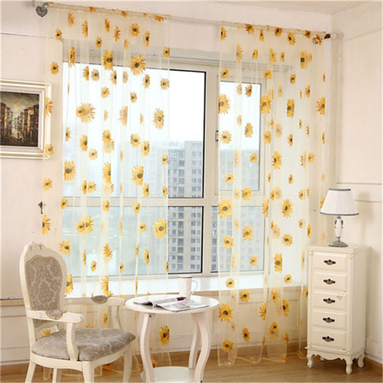 New Stylish Sunflower Curtains Window Screens Door Balcony Curtain Transparent Panel Sheer Scarfs VBJ77 P20. Yesterday's price: US $4.03 (3.30 EUR). Today's price: US $2.94 (2.43 EUR). Discount: 27%.
