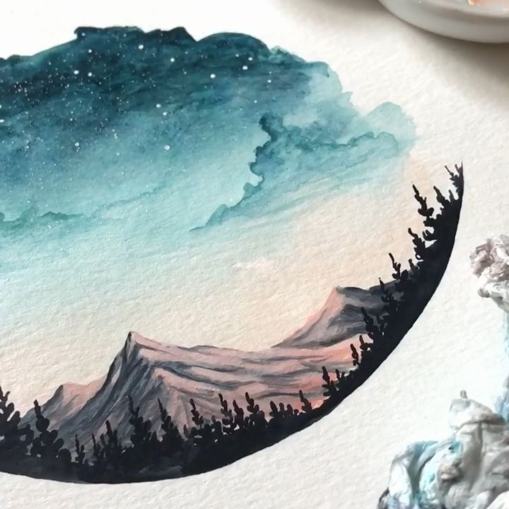 Watercolor landscape painting #wasserfarbenkunst When we look at a painting we only see what is on the surface but what if the artists hid something underneath?