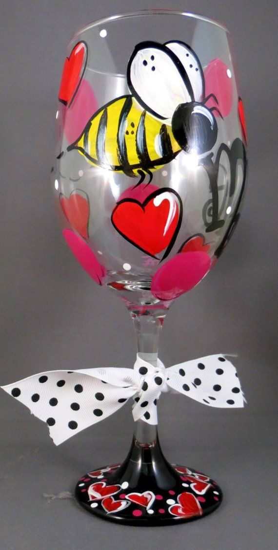 Bumble Bee Be Mine Valentine S Day Hand Painted Wine Glass