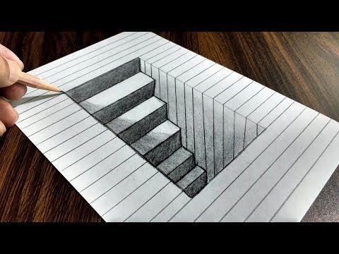 Como desenhar etapas 3D em um buraco - arte de papel de truque de linha
