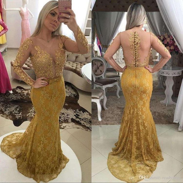 f70eea356e8 2018 Arabic V Neck Gold Lace Appliques Mermaid Evening Dresses Pearls Sexy  Illusion Back Long Sleeves Vestidos De Fiesta Prom Gowns
