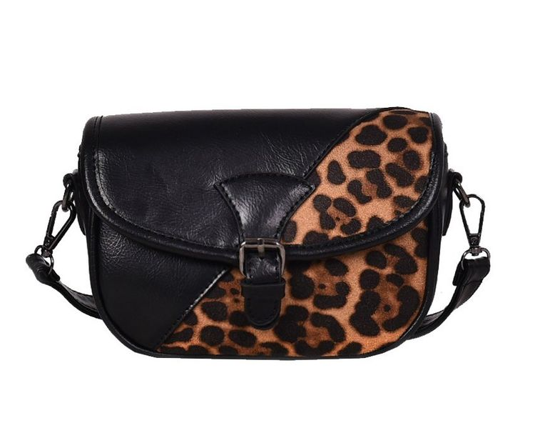 6f745837b6e6 Leather Leopard Patchwork Women Handbag Flap Messenger Crossbody Bag