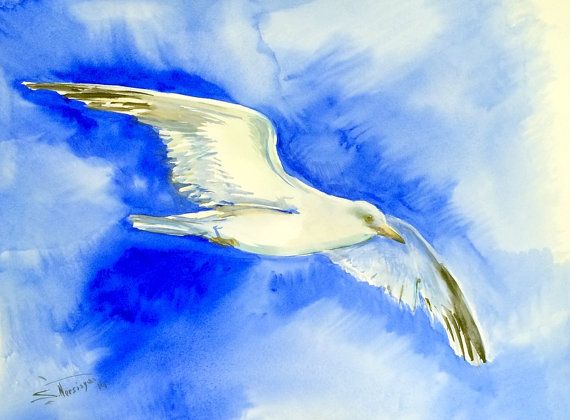Seagull 24 in x 18 in original watercolor painting by ORIGINALONLY