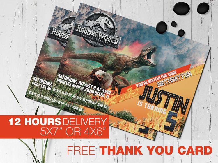 Jurassic World Fallen Kingdom T Rex Personalized Birthday Party Invitation Printable Digital File
