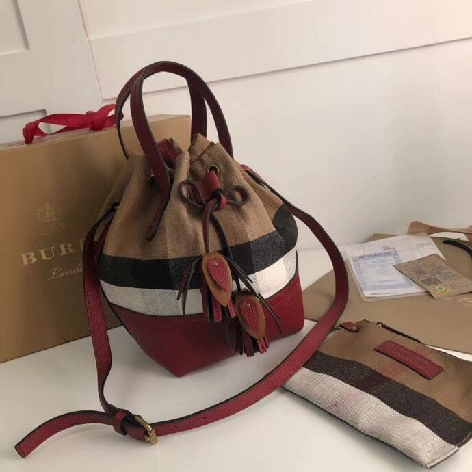 00f79879a7fe Burberry House Check and Leather Tassel Drawing Bucket Bag Burgundy 2018