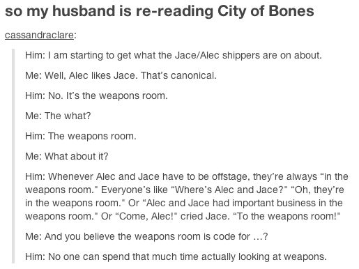 """Cassandra Clare's husband re-reads City of Bones and becomes suspicious of Jace and Alec's deeds in the """"weapons room"""" hahahaha"""