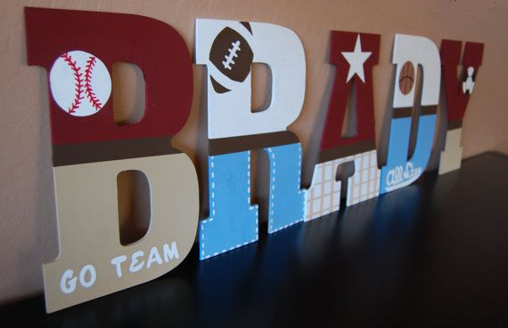 13 Sports Theme Nursery Wall Letters By Lovebbycarrie On Etsy Love How Diffe Are Represented And Would Be Simple To Diy