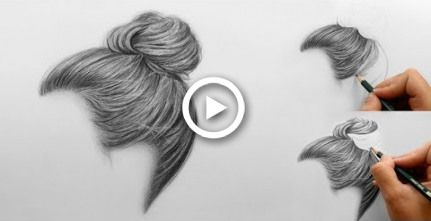 Passo a passo |  Como desenhar o coque de cabelo realista sombra com lápis |  Emmy Kalia