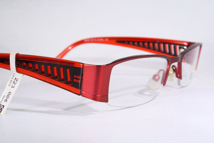 c38e5fa9ed72 Details about KUNOQVIST Hot Red Swedish Design Women s Semi Rimless Eyeglass  Frames Medium