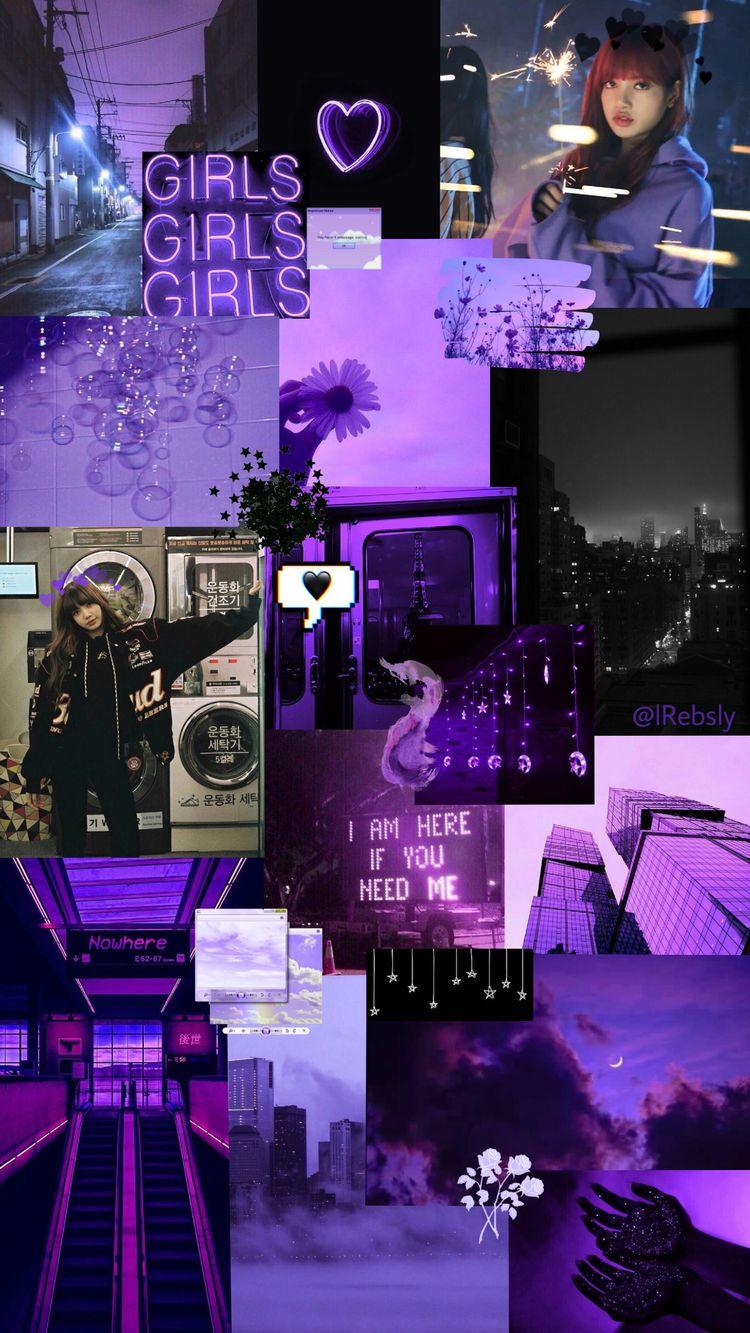 Lisa Purple And Black Wallpaper