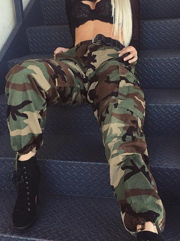Army Green Camouflage Pockets Drawstring Zipper High Waist fatigue Cargo Pants -