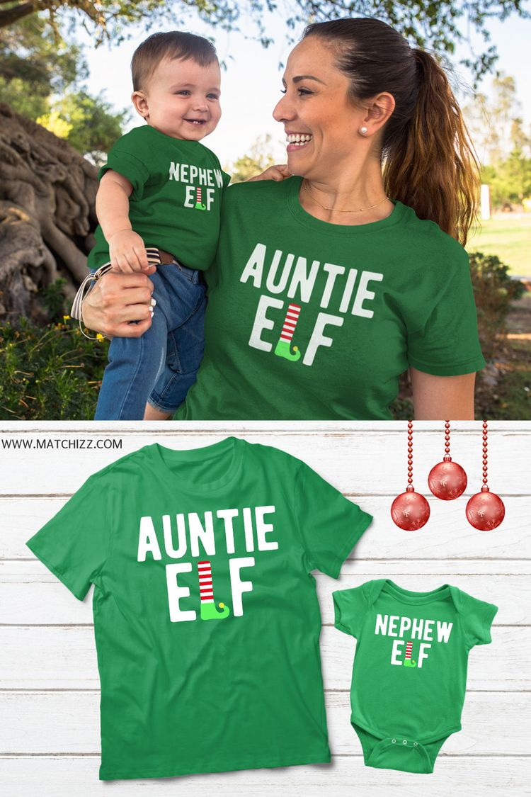 bb971350 Aunt and Nephew Elf Christmas Gifts Aunt and Nephew Shirt Aunt and Me Aunt  and Baby Matching Auntie Elf Nephew Elf Funny Christmas Shirt