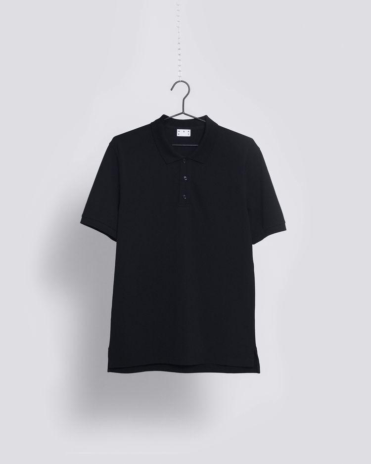 37b21cd54 THE ASKET Pique Polo in Black