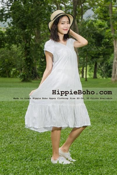bdf6a50eac5 No.357 - Size XS-7X Plus Size White Tiered Sun Dress Gypsy Bohemian Summer  Clothing Tiered Mini Dress Women's Dress Hippie Boho Style