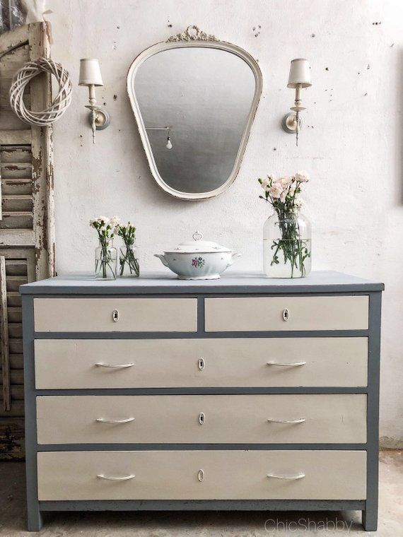 Shabby chic vintage antique chest of drawers