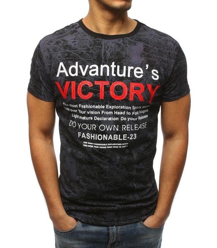 ee6d4bd332bf Pánske čierne tričko s potlačou