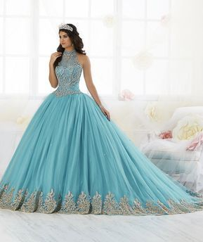 2403c9ba690 Beaded High-Neck Quinceanera Dress by House of Wu 26881