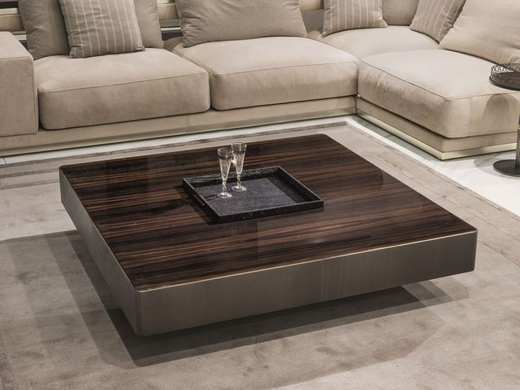 Square Wooden Coffee Table With Tray For Living Room Lonel - Fire-coffee-table-by-axel-schaefer
