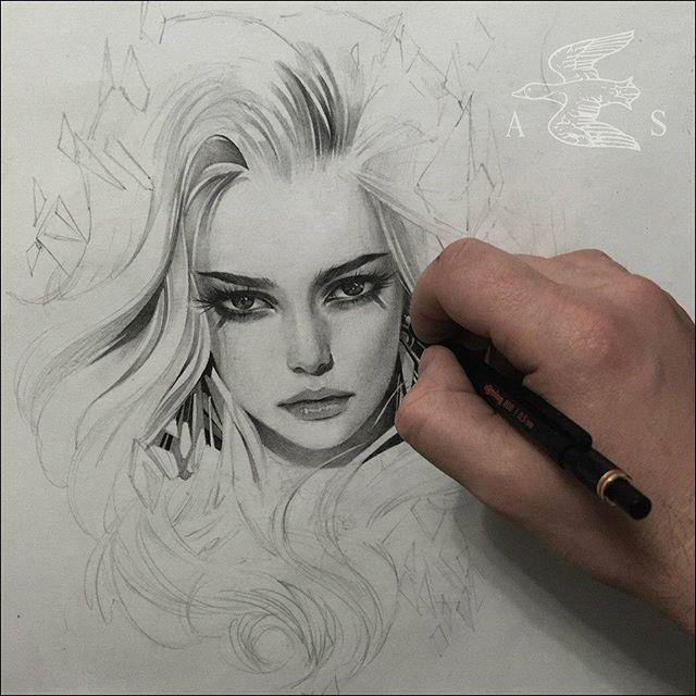 "Art Sharing Page 🎨 on Instagram: ""by @alexsorsa #art #artist #drawing #draw #paint #painting #sketch #sketchbook #artwork #illustration #pencil #portrait"""