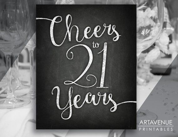 chalkboard sign printables cheers to 21 years party si