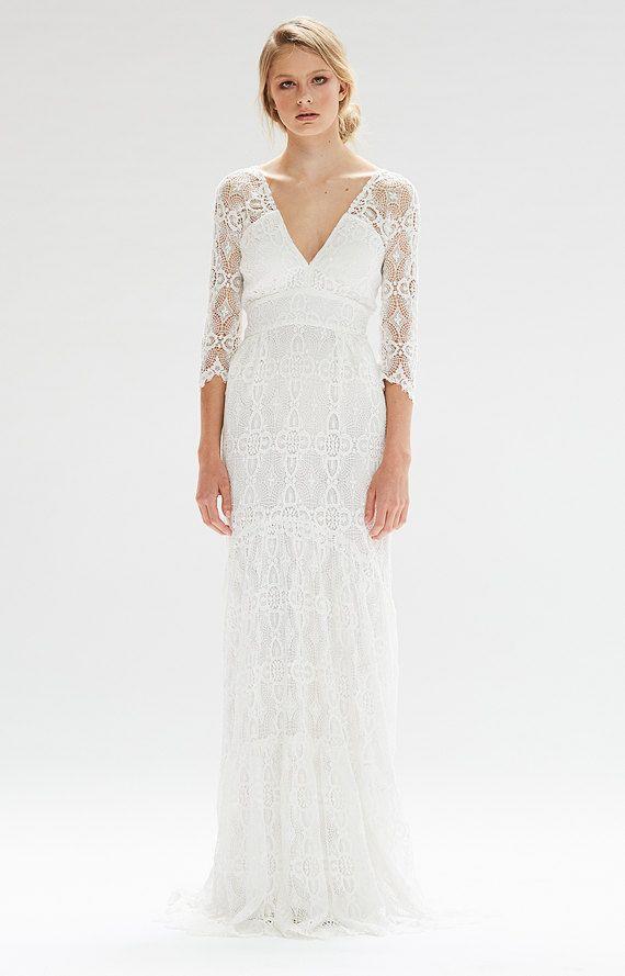 51fe507a17 Kite and Butterfly Wedding Dress Bohemian White Rena