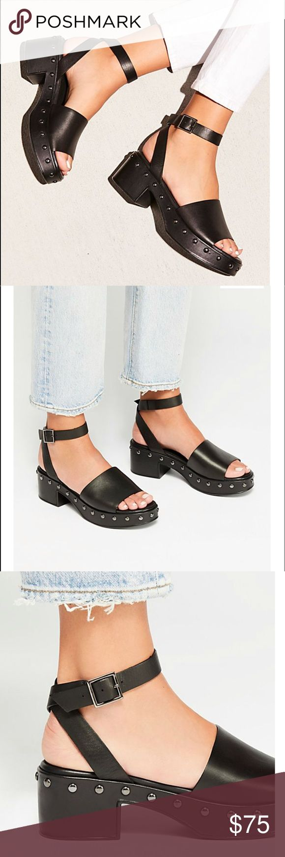 4a084c07bfa NWT Free People Stand By Me Platform Sandal Platform clog-style sandal  featuring studded details