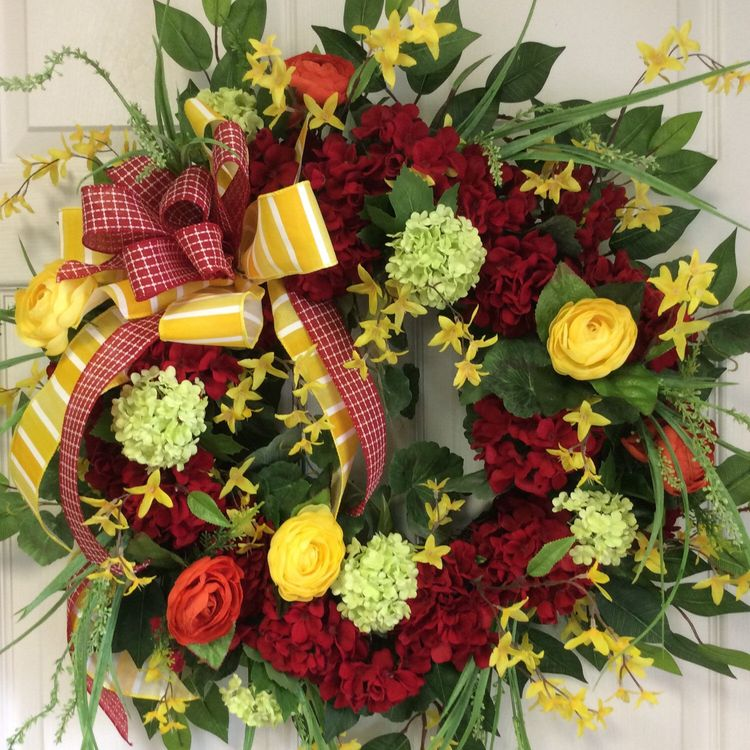 Newly Added Spring And Summer Door Wreath The Rich Colored Red Geraniums Make This Stunning