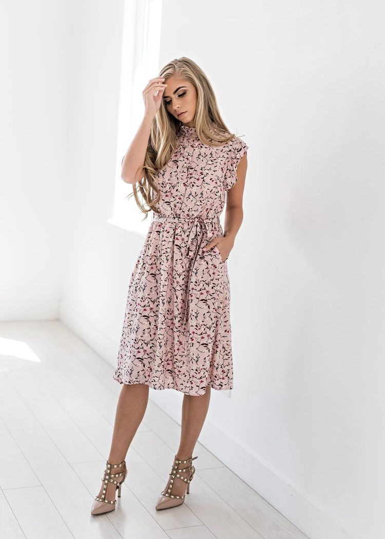 093f23c3a22 Color Me Pink Floral Ruffle Dress