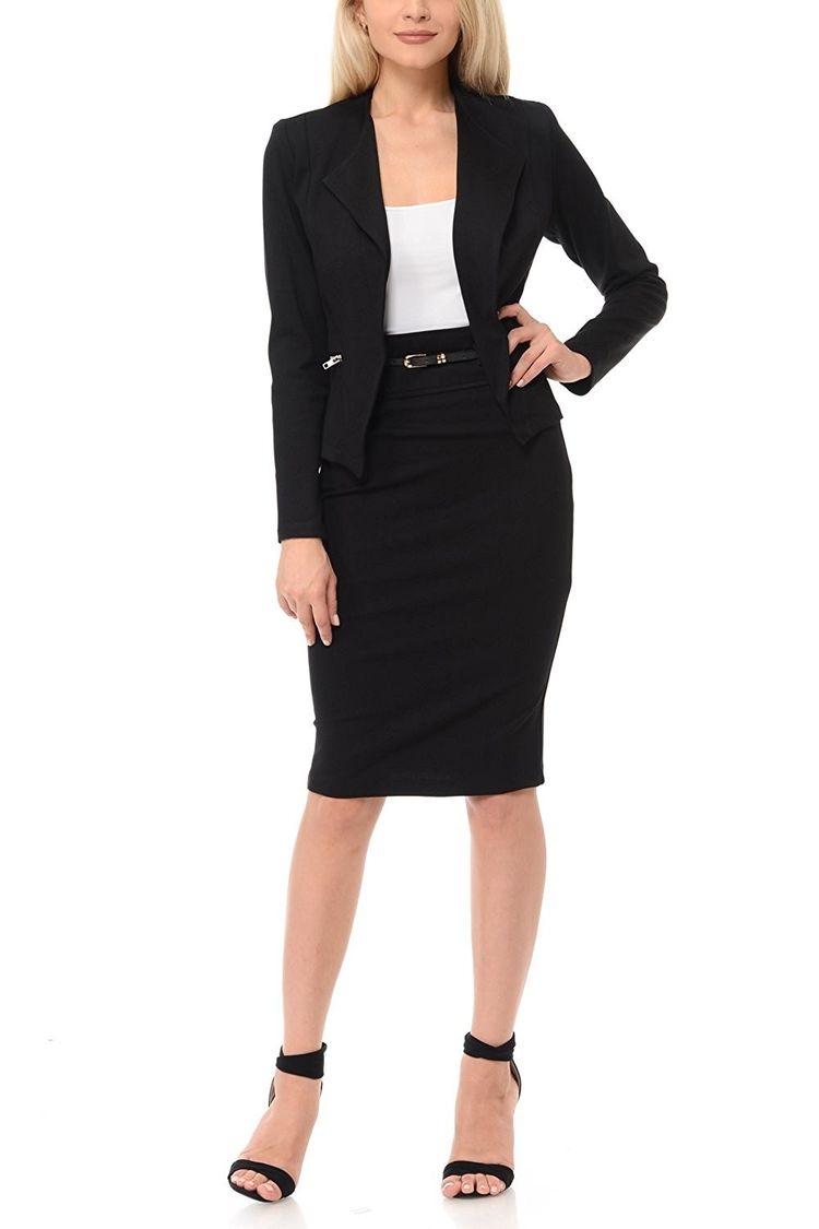 Womens Wear To Work Solid Skirt Suit Set 3087b Black