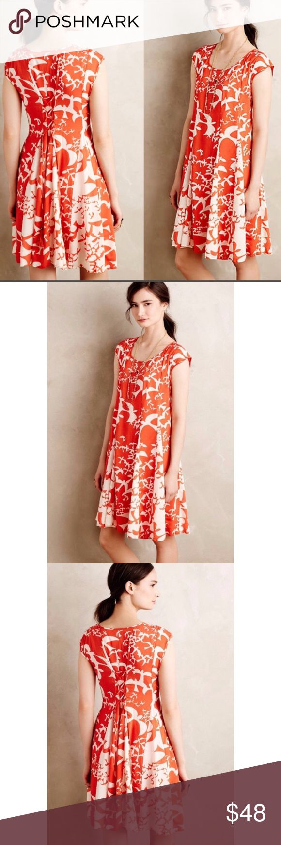 d0a9d41372333 🎉Anthropologie Maeve Indiga Swing Dress🎉 Anthropologie Maeve orange and  white Indiga swing dress. Fully lined. Features relaxed swingy silhouette,  ...