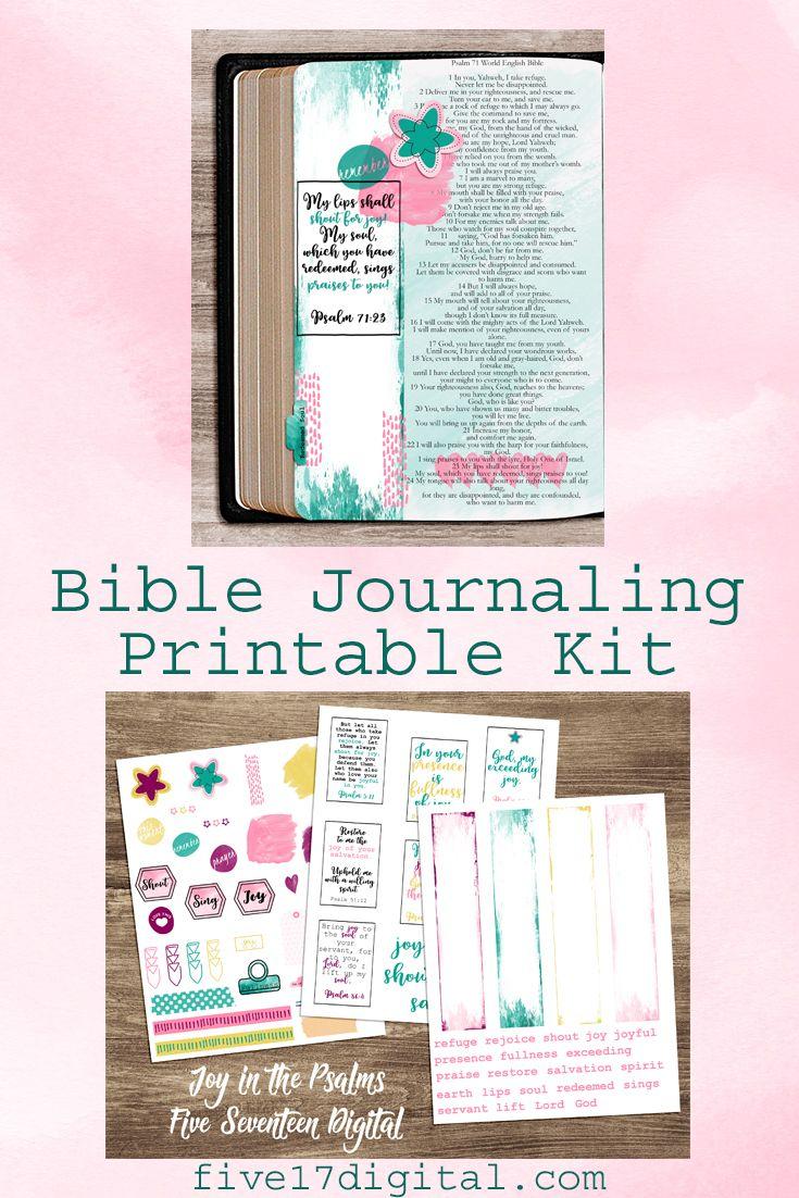 Bible Journaling Kit, Joy in the Psalms, Journaling Printab